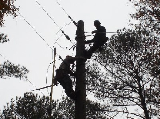 Men working on power lines