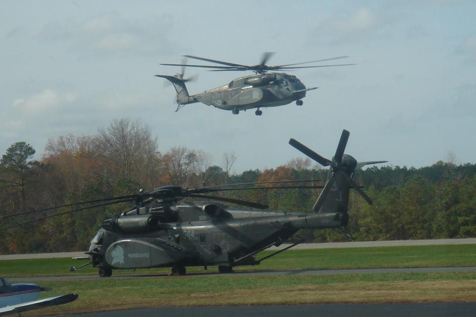 Navy Helicopter landing at Airport