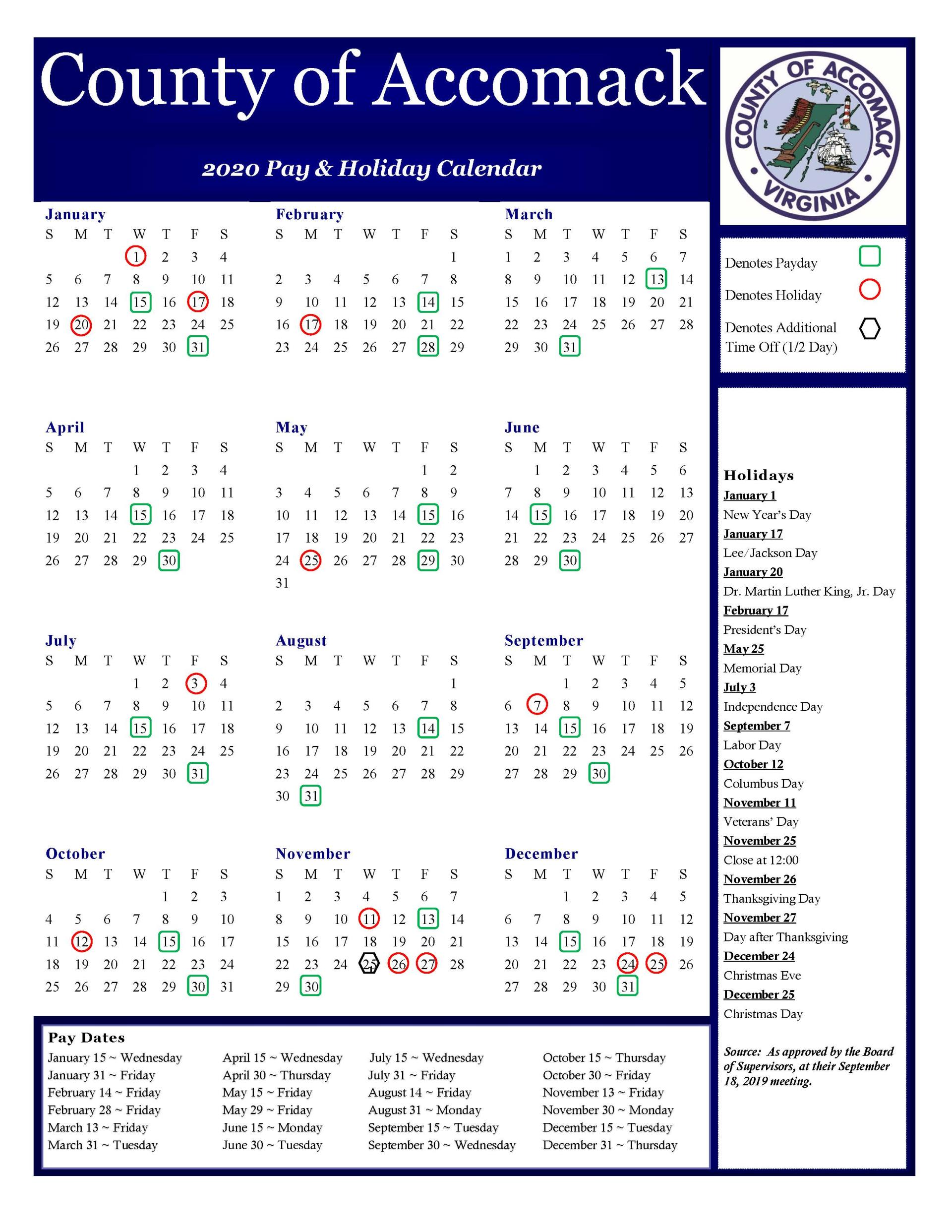 2020 Pay and Holiday Calendar